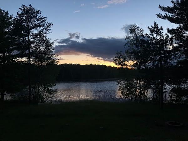 view of the lake at night
